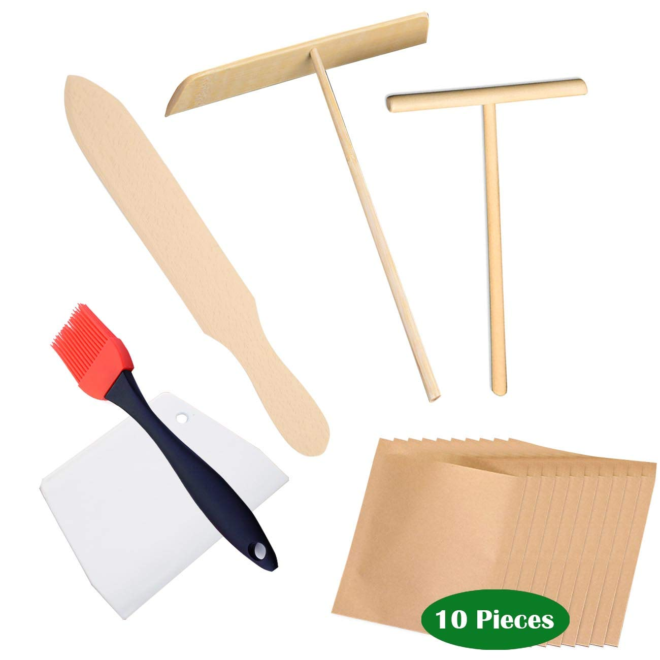 Natural Beechwood Crepe Spreader & Spatula Set r (15 Piecer) | 7'', 5'', Spreaders and 11.6'' Spatula | Food kraft paper bag| Convenient Sizes to Fit Any Crepe Pan Maker | Premium Finish |Home Kitchen/cafe | Breakfast Pancakes by 9M9