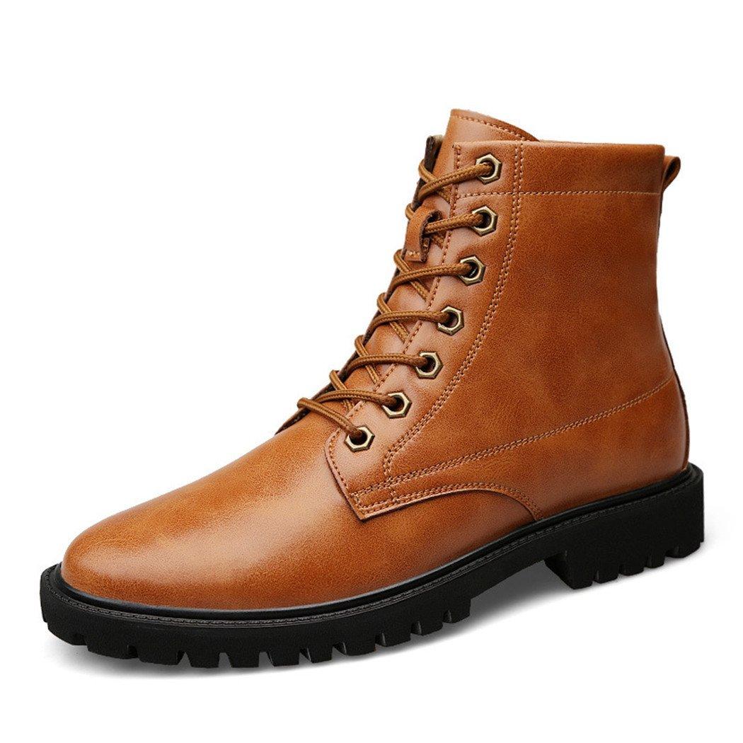 HHY-Desgaste transpirable en el otoño y el invierno de cuero de ocio al aire libre de tamaño ayuda alta moda hombres Ma Dingxue botas,brown,41 41|brown brown