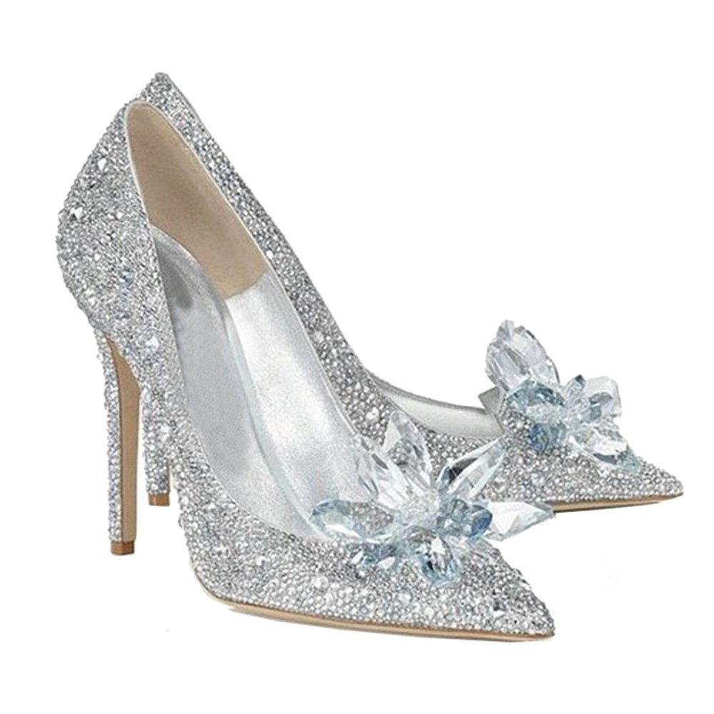 Cinderella Glass Shoes High Heel Fancy Fashion Cosplay Bling Glass Slipper 38 by Cosplay_Rim