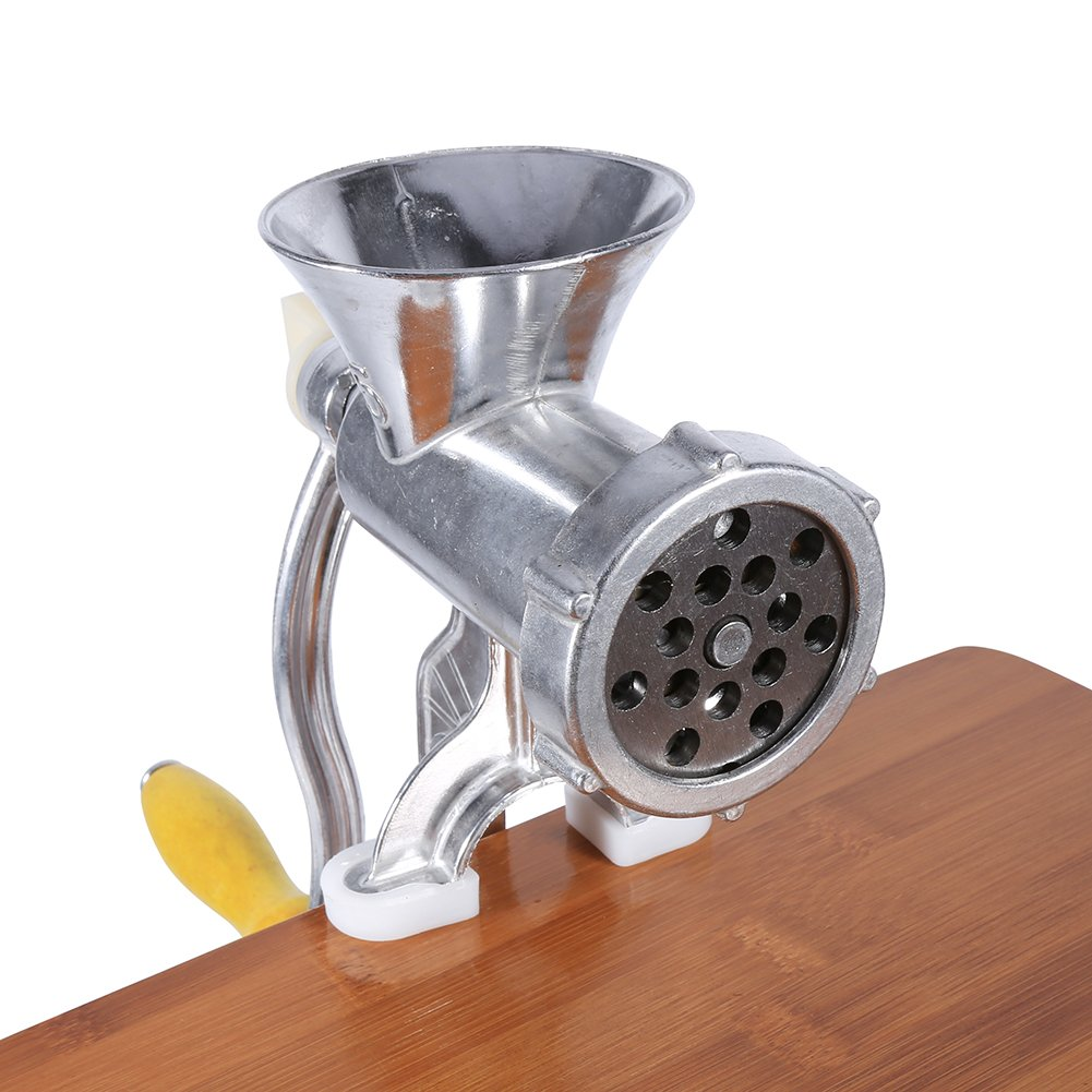 Aluminium Alloy Hand Operate Manual Meat Grinder Sausage Beef Mincer Table Kitchen Home Tool for All Meats,Fats,Nuts,Cookies,Cooked Food,Perfect for Making Burgers and Sausage Meat Grinder