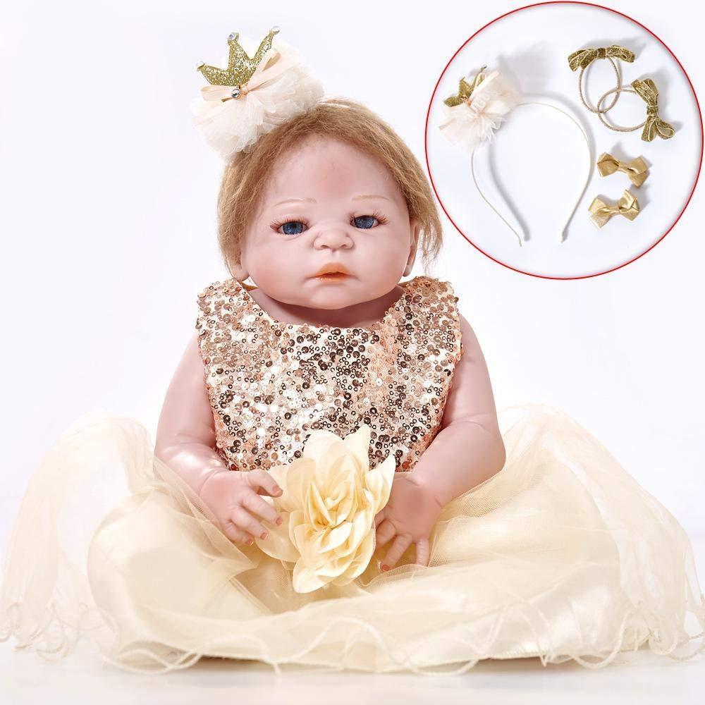 Hongge Reborn Baby Doll,Vinilo de Silicona regenerado del cumpleaños Regalo Juguetes los niños de bebé muñeca Realista bebé muñeca Realista Princesa niñas 55cm