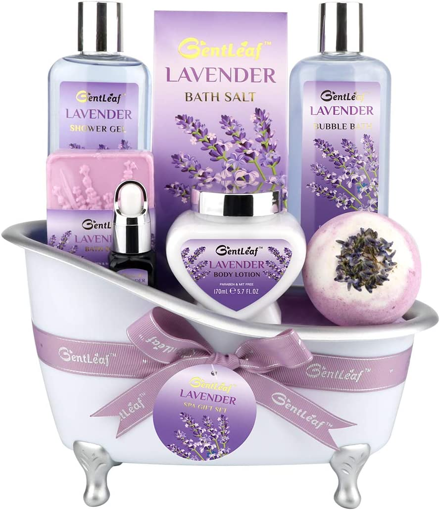 Bath and Body Gift Set for Women, GentLeaf Home Spa Basket Scented with Jasmine Lavender, Luxury Bath Set Includes Bath Bomb/Soap/Essential Oil 8 Pcs, Perfect Relaxing Bath Gift Basket for Her