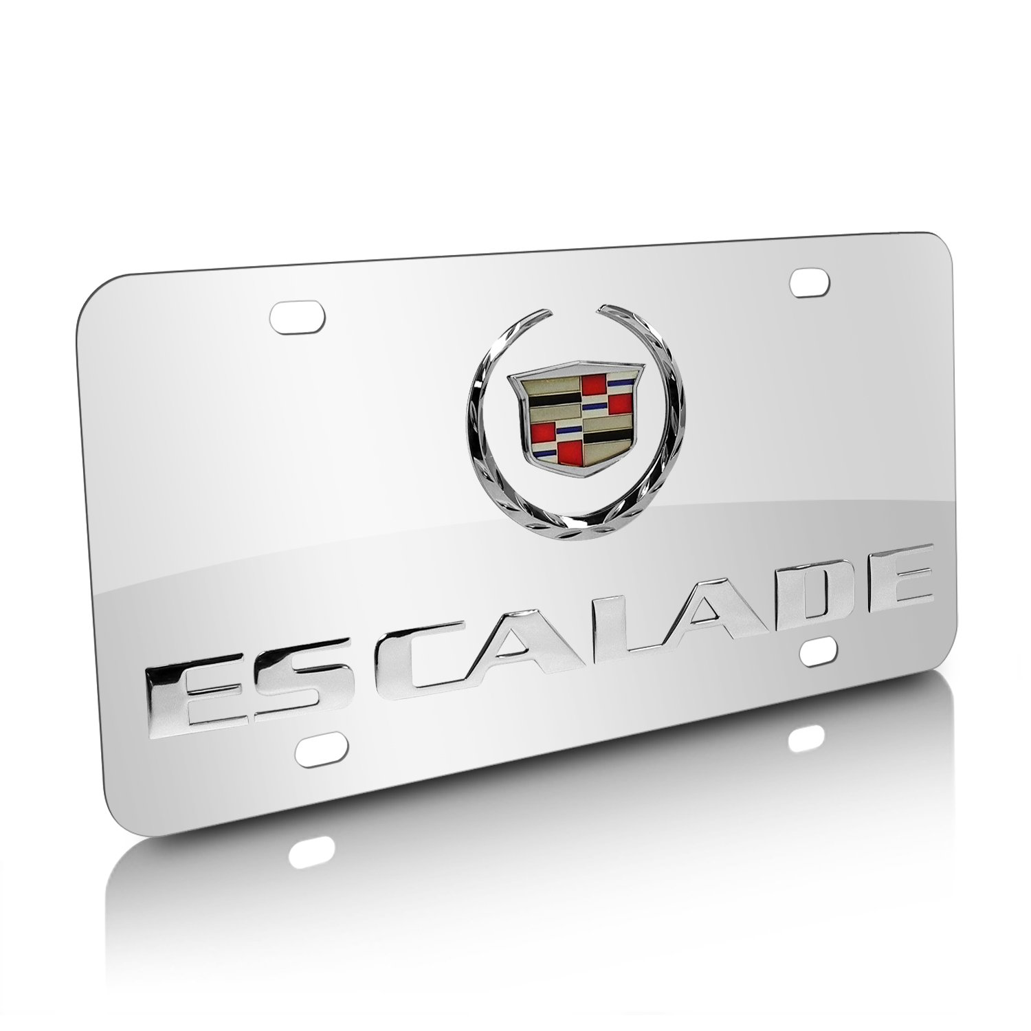 Amazon.com: Cadillac Escalade Chrome Stainless Steel License Plate ...