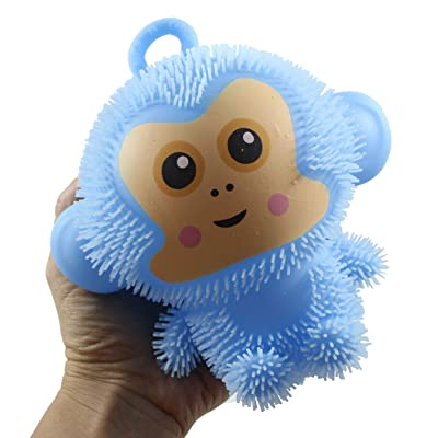 Curious Minds Busy Bags Light Up Puffer Monkey Toy - Squishy Squeezey Sensory Squeeze Air Filled Balls OT (Random Color): Toys & Games
