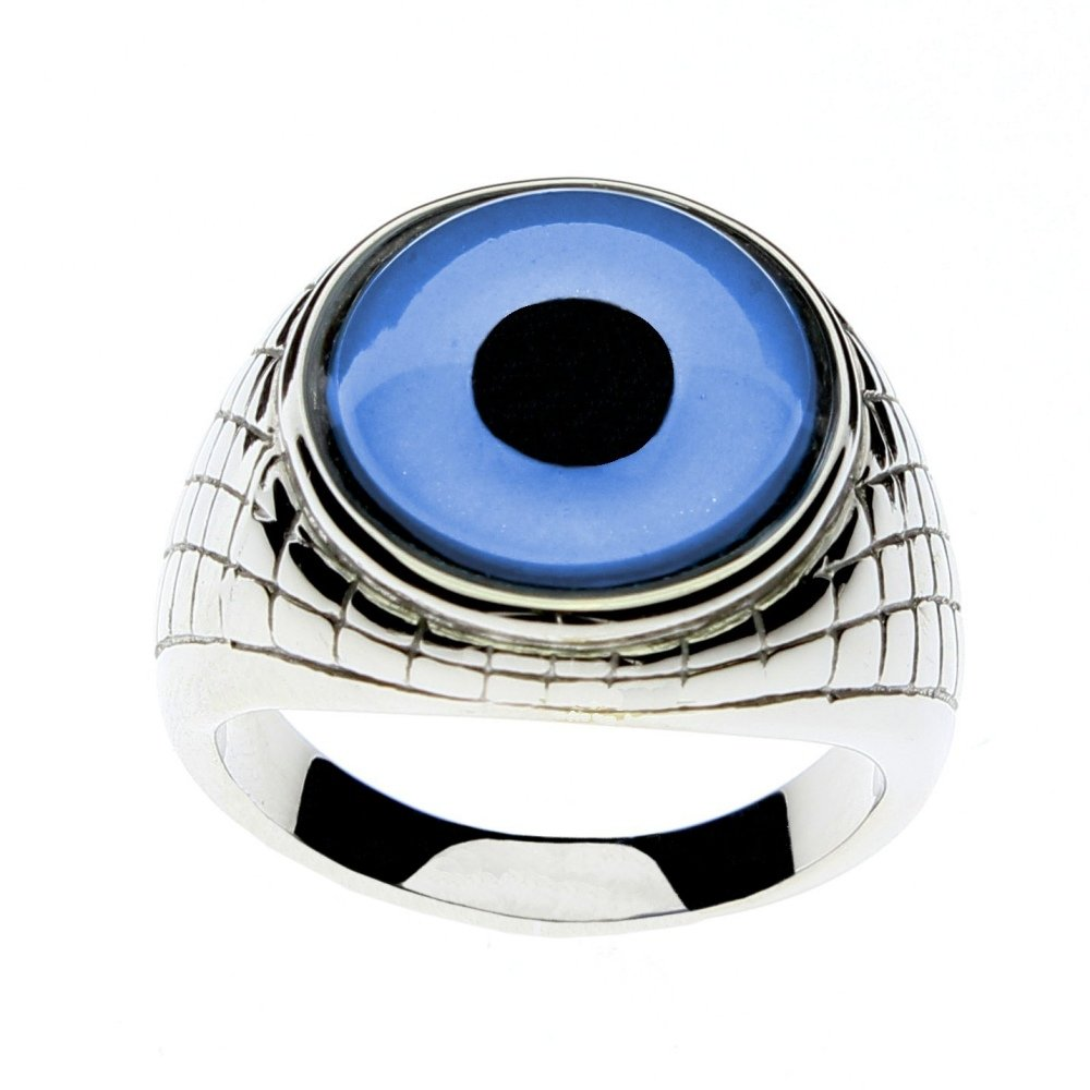 Steel Dragon Jewelry Men's Glass Evil Eye Ring in an Egyptian-Inspired Setting by (Evil Eye, 11)