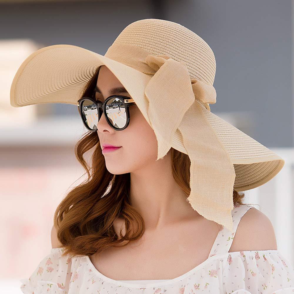 ROZKITCH Womens Straw Hat Beach Cap Floppy Foldable Adjustable/Wide Brim Sun Hat UPF 50 Brown