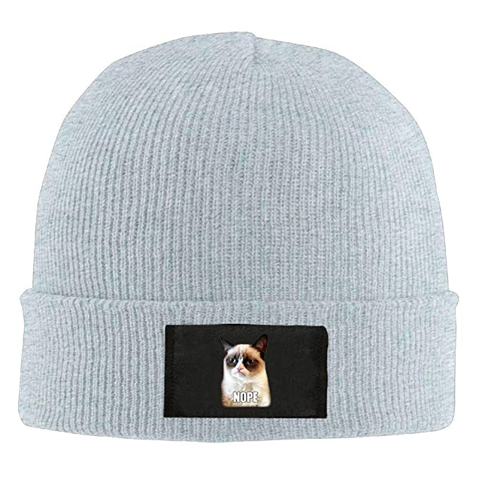 Amazon.com  Mens Womens Knit Beanie Hat Nope Grumpy Cat Warm Winter Hat  Skull Cap Unisex  Clothing d93d4b672e