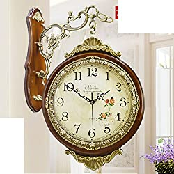 European Style,Antique,Living Room,Solid Wood,Two-sided Wall Clock/Creative,Modern,Silent,Clock-A 20inch