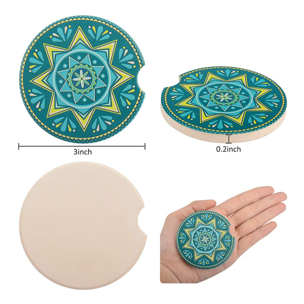 GINDOLY Bohemia Style Absorbent Stoneware Car Coaster for Cup Holder with Notch for Easy Removal Keep Car Cup Holder Clean and Dry Ceramic Car Coasters Pack of 2 Green