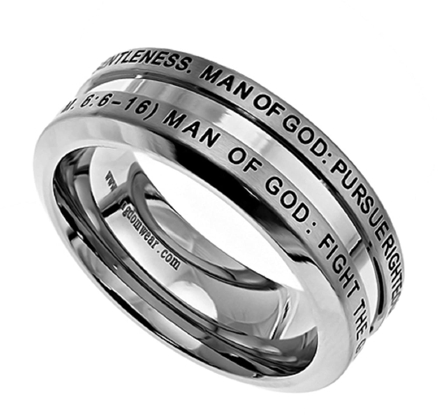 Man of God Industrial Band Silver Stainless Steel Ring With Verse 1 Tim. 6:6-16