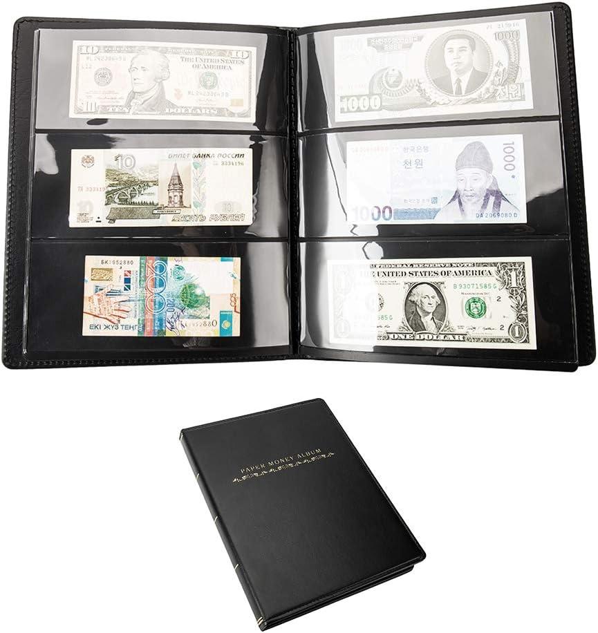 60 bolsillos de papel colección de dinero moneda billetes álbum de piel libro efectivo titular de almacenamiento: Amazon.es: Juguetes y juegos