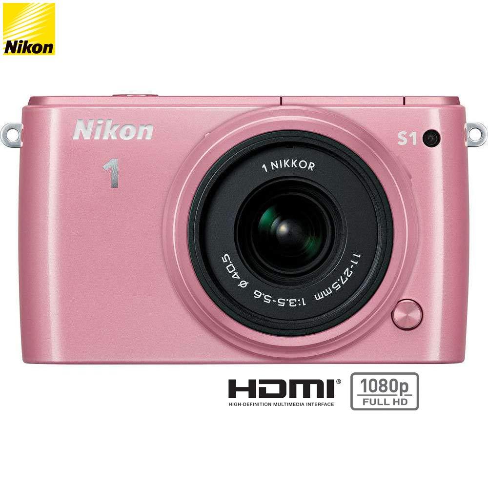 Nikon 1 S1 10.1MP Pink Digital Camera with 11-27.5mm Lens - (Certified Refurbished)