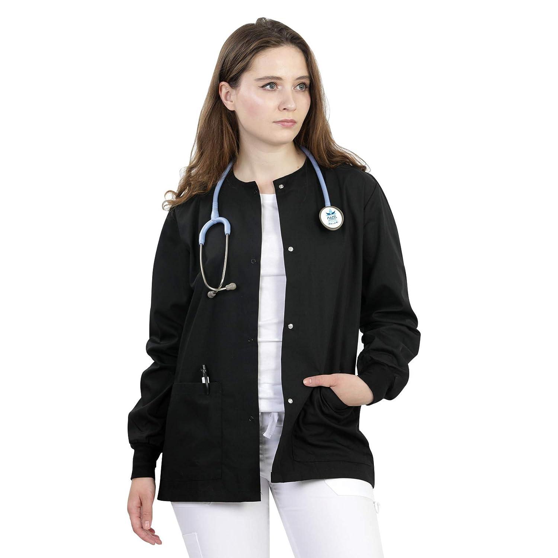 21869243f9b Amazon.com: MAZEL UNIFORMS Womens Scrub Jacket Warm UP Jacket with Snaps  Many Colors: Clothing