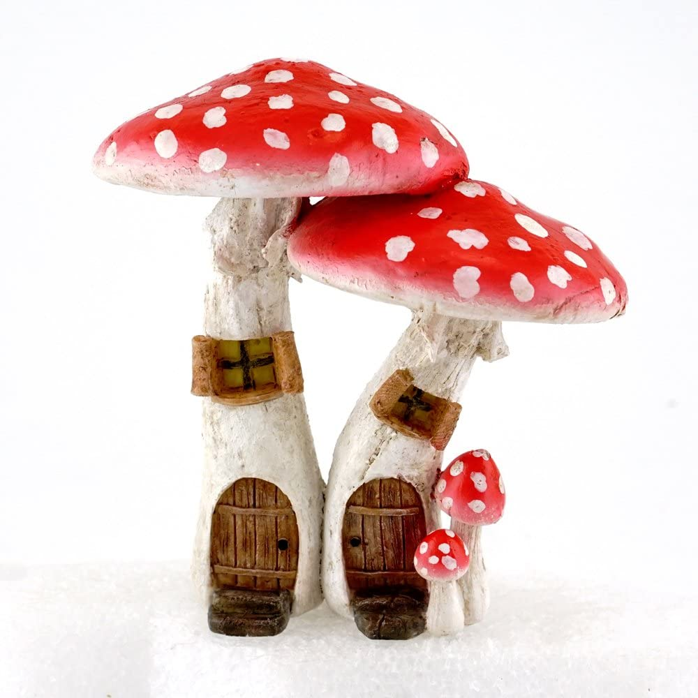 Top Collection Miniature Fairy Garden & Terrarium Cute Mushroom Houses with Pick Decor, Red, Small