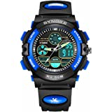 856store Reloj de pulsera, analógico digital, resistente al agua, doble zona horaria, para niños, Azul