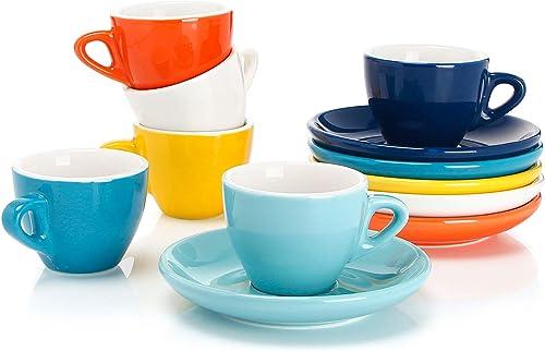 Sweese 6-teilig Espressotassen Set aus Porzellan, Dickwandige Kaffeetassen mit Untertasse, 75 ml, Bunte Serie