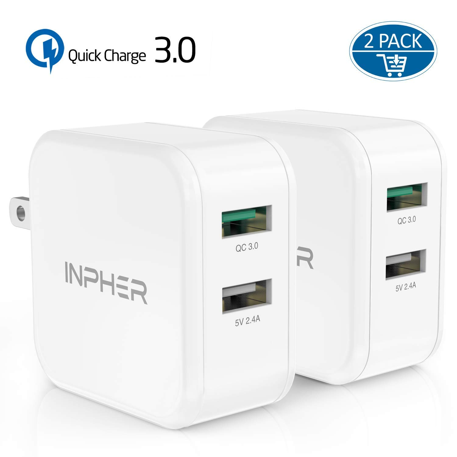2 Quick Charge USB Wall Charger, Inpher 30W Fast Charger 3.0 + 2.4A Dual Ports Power Adapter with SmartID Foldable Plug for Samsung Galaxy, iPhone, ...