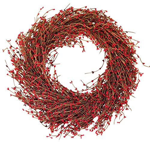 - The Wreath Depot Northville Red Pip Berry Wreath, 22 Inches, Designer Quality Full Berry Wreath Enhances Front Door for Christmas and Winter Seasons