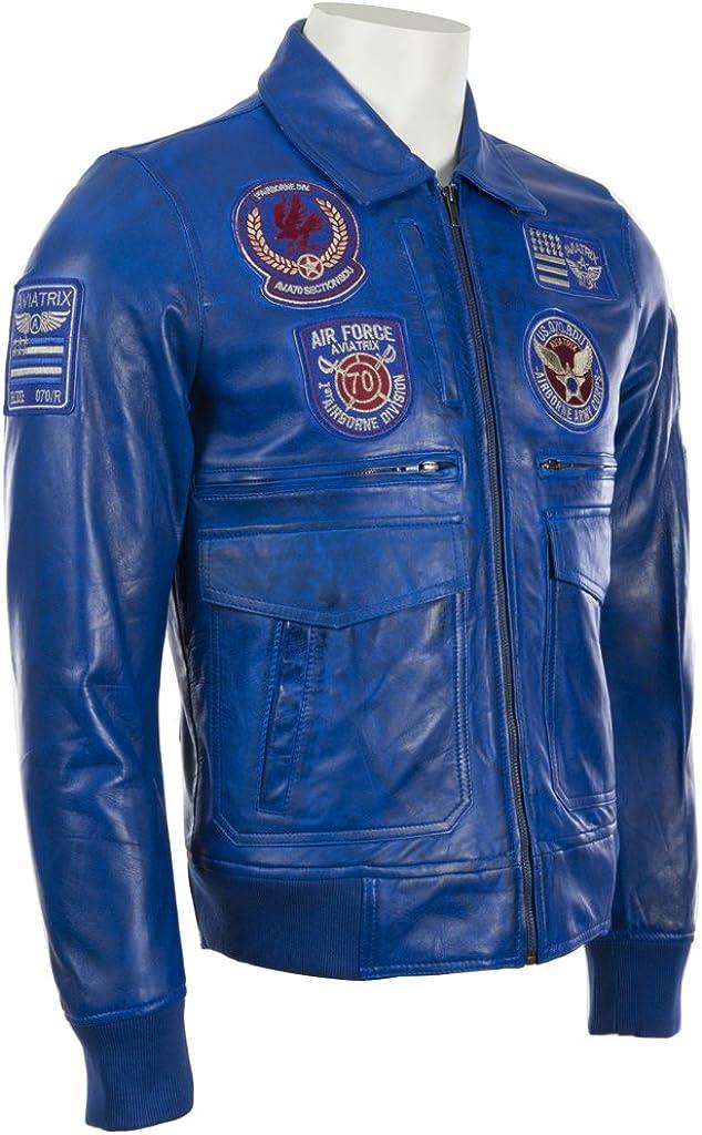 Aviatrix Chaqueta De Cuero Super Suave con Distintivos De Aviacion para Hombres 9079