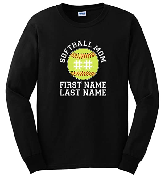 965f157b Custom T-Shirt Personalized Softball Mom Enter Players Name Number Long  Sleeve T-Shirt