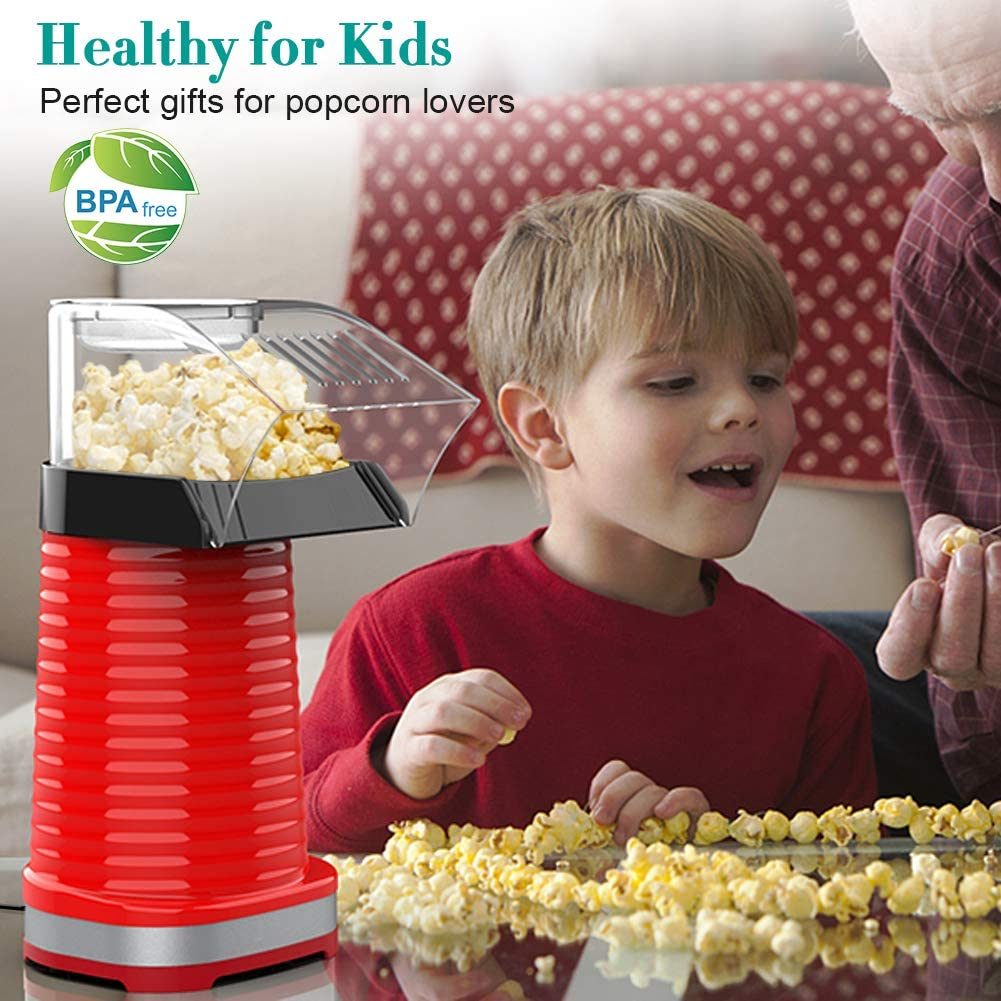 Popcorn Maker Machine Red-1200W Perfect for Party Birthday Gift No Oil Hot Air Popcorn Popper for Home Healthy Snack for Kids Adults Removable Measuring Cup
