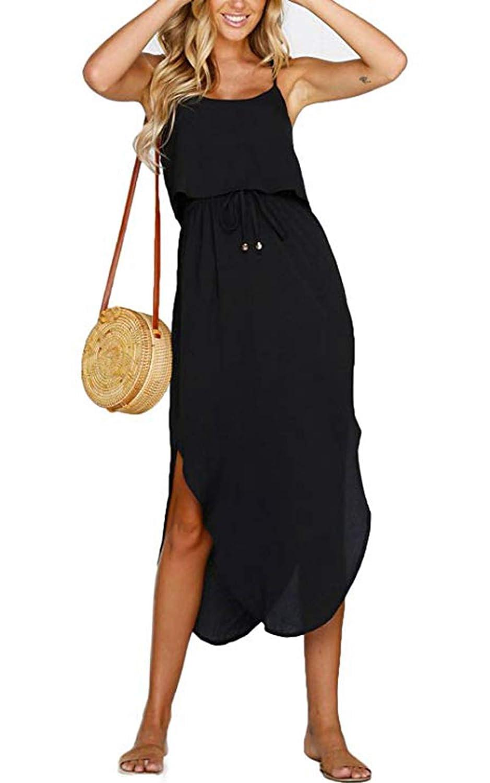 ZIYYOOHY Damen Sommerkleider Midi Swing Spaghettiträger A-line Strandkleid Maxikleid mit Gürtel