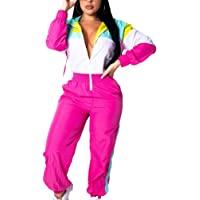 EOSIEDUR Women's One Piece Tracksuit Outfits Windbreaker Jacket Camouflage Crop Top Pants Jumpsuit Set