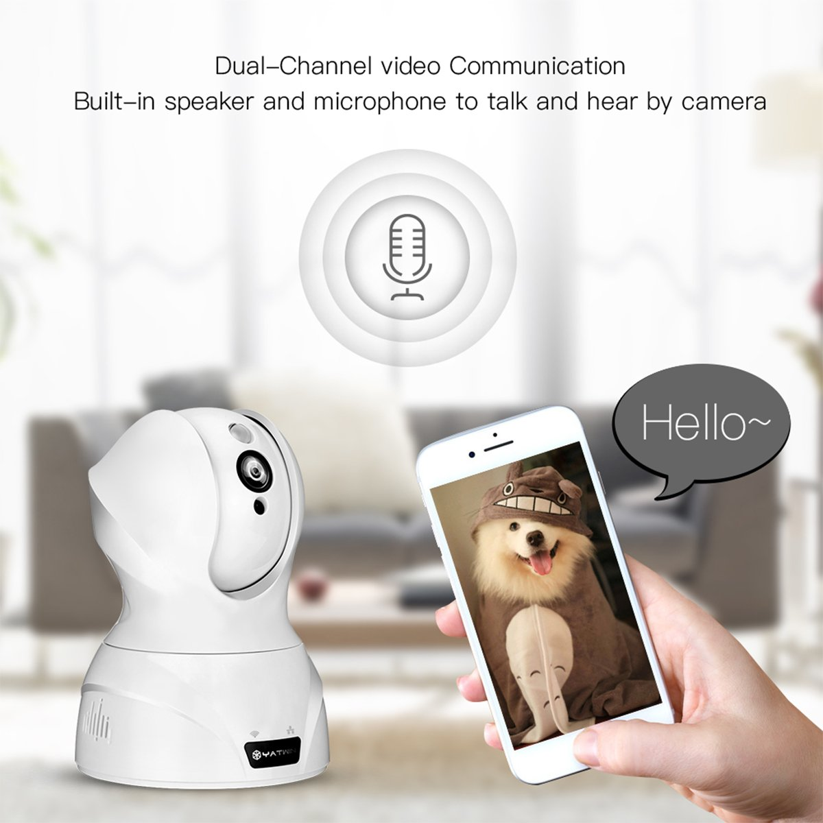 Caméra IP 720p YATWIN, Caméra de Surveillance WIFI Babyphone Vidéo Sans Fil avec Audio Bidirectionnel, Vision Nocturne, Détection de Mouvement à Distance, 8 Fois Zoom Numérique Alerte d\'information-- Blanc
