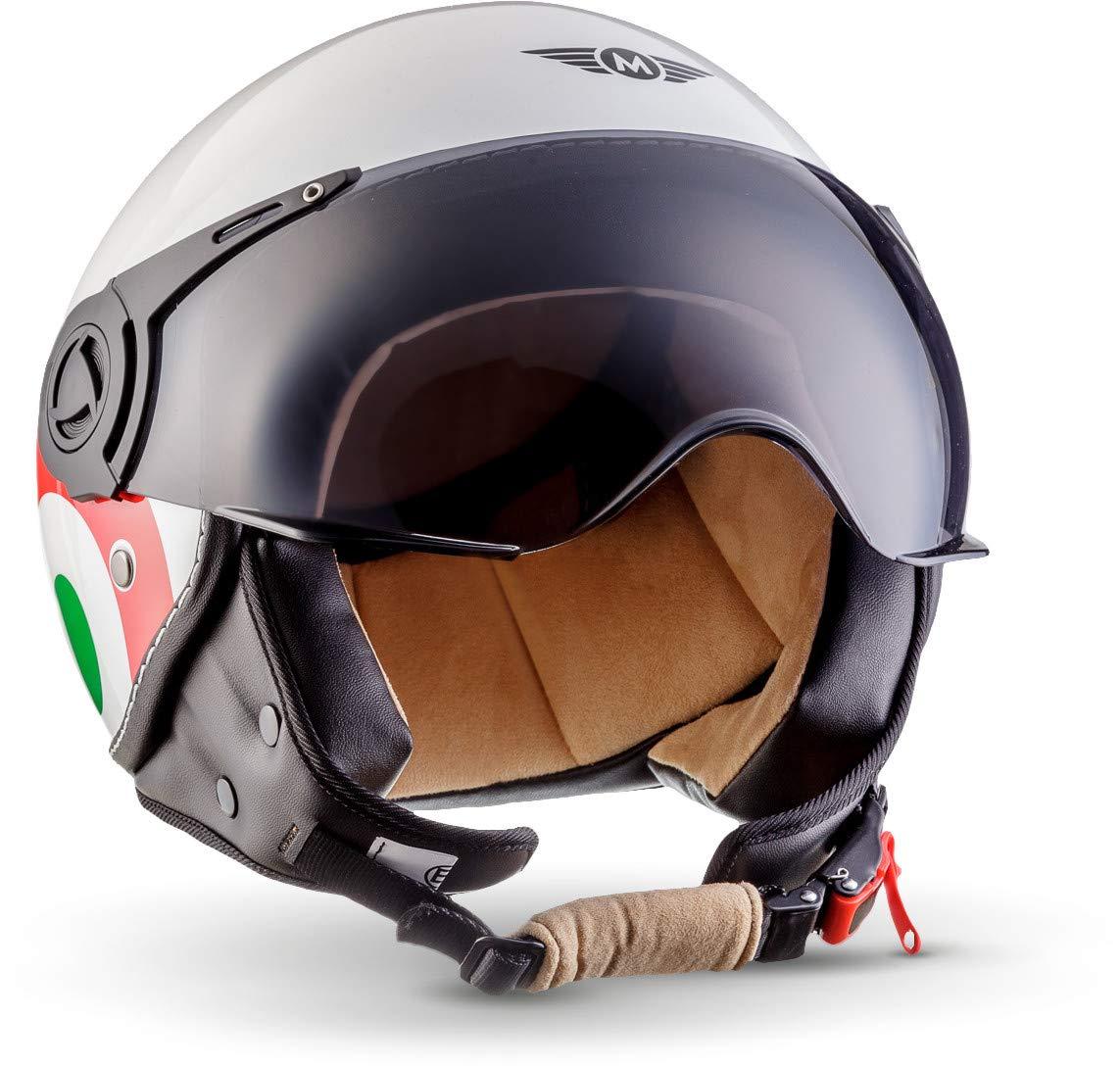 "Armor /· AV-84 /""Vintage Deluxe/"" /· Casco moto Demi Jet /· Scooter Urbano motocicleta Helmet Urban Retro /· ECE certificado /· Visor /· Click-n-Secure/™ Clip /· Bolsa de transporte /· XL 61-6"