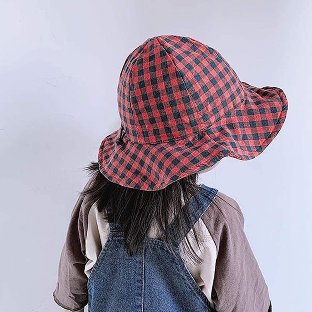 Chin Rope Color : Red Black Grid, Size : S Infant XF Sun hat Sun hat Fashion Plaid Style Wide Side Spring and Summer Thin Section Fisherman hat Boys and Girls