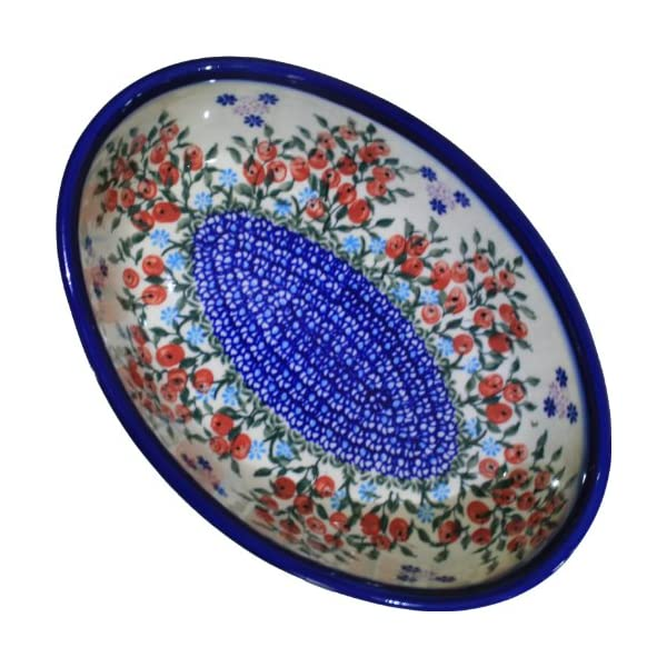 Polish Pottery Ceramika Boleslawiec 1210/282 Royal Blue Patterns 5-Cup Oval Mirek Baker, 9-2/3 by 6-7/10-Inch, Red Berries and Daisies