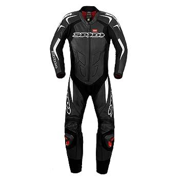 SPIDI Traje de Piel para Moto Supersport Wind Pro, Negro/Blanco, 46