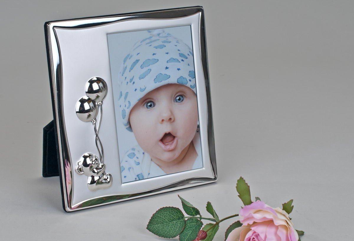 Amazon.de: Formano Bilderrahmen Baby mit Bärchen silber glänzend und ...
