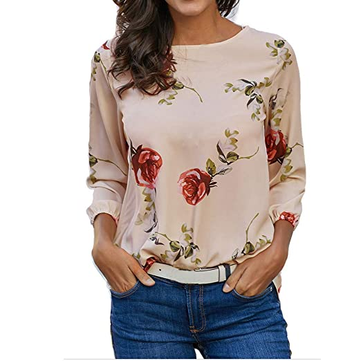 b01c8bae266 Women Long Sleeve Summer Print Floral T Shirt Fashion Casual Blouse Tops at  Amazon Women s Clothing store