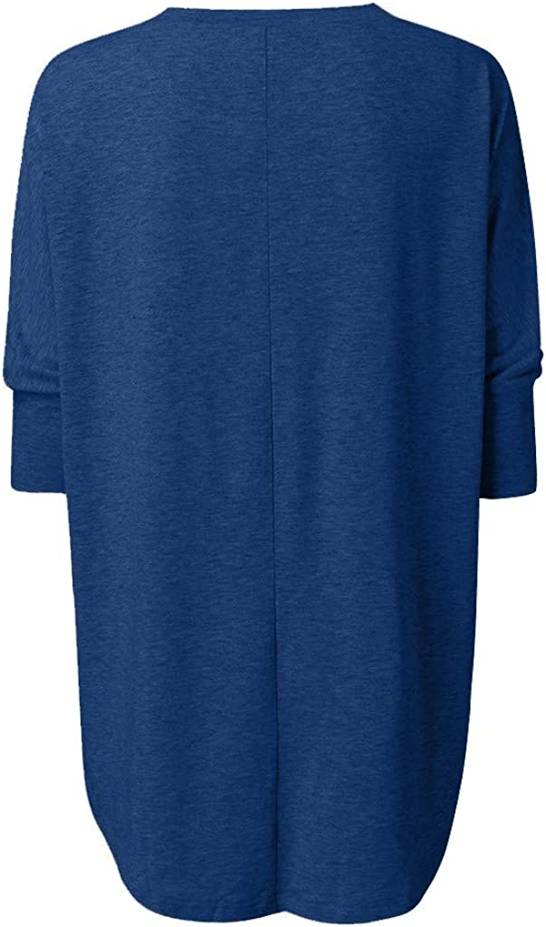 Chanyuhui Womens Solid Plus Size Tops Three Quarter Sleeve O-Neck T-Shirt Casual Loose Pullover Sweatshirt Tunic Blouses