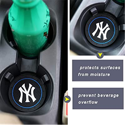 2 Pack 2.75 Inch Car Cup Holder Insert Coaster for New York Yankees, Car Interior Accessories Anti Slip Cup Mat for All Vehicles (for NY): Automotive
