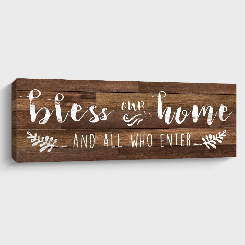 Bless Our Home Sign Motivational Canvas Wall Art, Rustic Farmhouse Wall Decor for Living Room, Bedroom or Bathroom