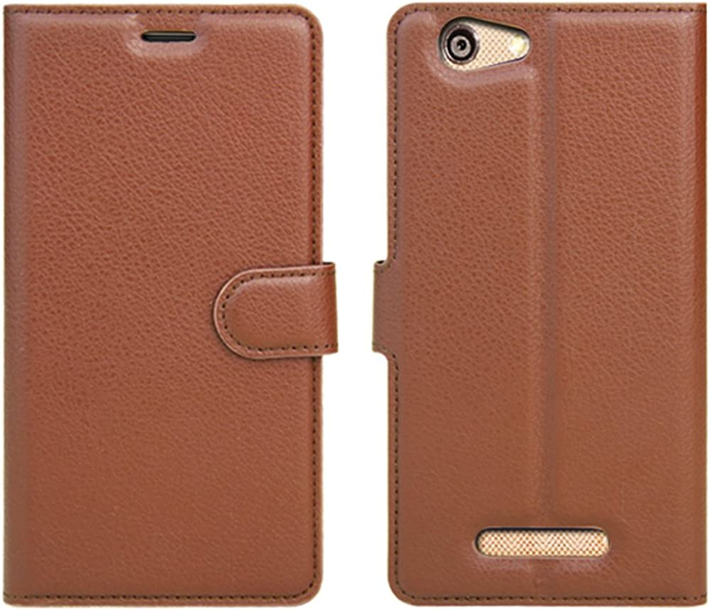 Brown BLU VIVO XL Case GOGODOG Ultra Slim Leather Bumper Full Body Protection Wallet Business Style with Stand Function and Auto Sleep Wake Up