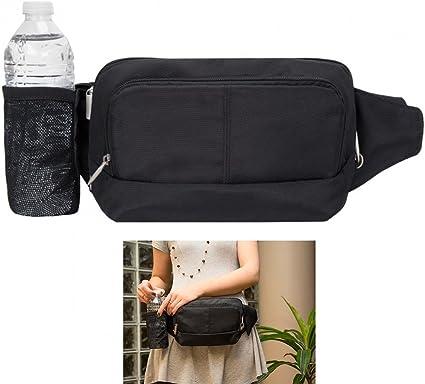Travelon Leather Waist Fanny Pack Travel RFID Blocking Pouch Belt Bag Black New