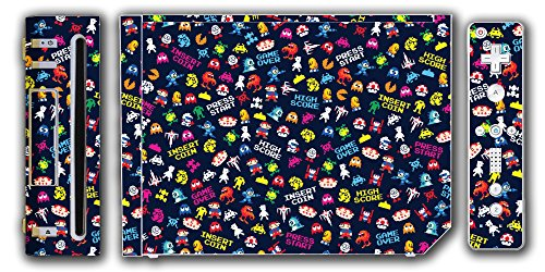 Retro Video Game Pixel Art Mega Man Bubble Bobble Galaga Game Over Insert Coin Mario Video Game Vinyl Decal Skin Sticker Cover for the Nintendo Wii System Console