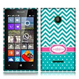 Nextkin Microsoft Nokia Lumia 435 Flexible Slim Silicone TPU Skin Gel Soft Protector Cover Case - Teal Mint/ White Happiness Monogram