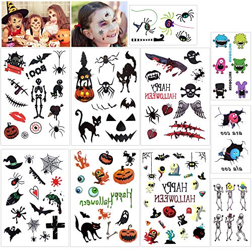 Konsait Halloween Temporary Tattoos Bulk Monster Pumpkin Tattoos Party Favor Accessory for Kids Children (113 -