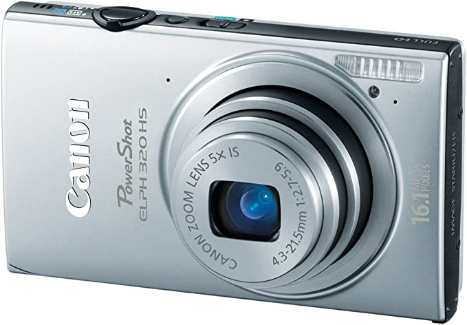 Silver Canon PowerShot ELPH 320 HS 16.1 MP Wi-Fi Enabled CMOS Digital Camera with 5X Zoom 24mm Wide-Angle Lens with 1080p Full HD Video and 3.2-Inch Touch Panel LCD