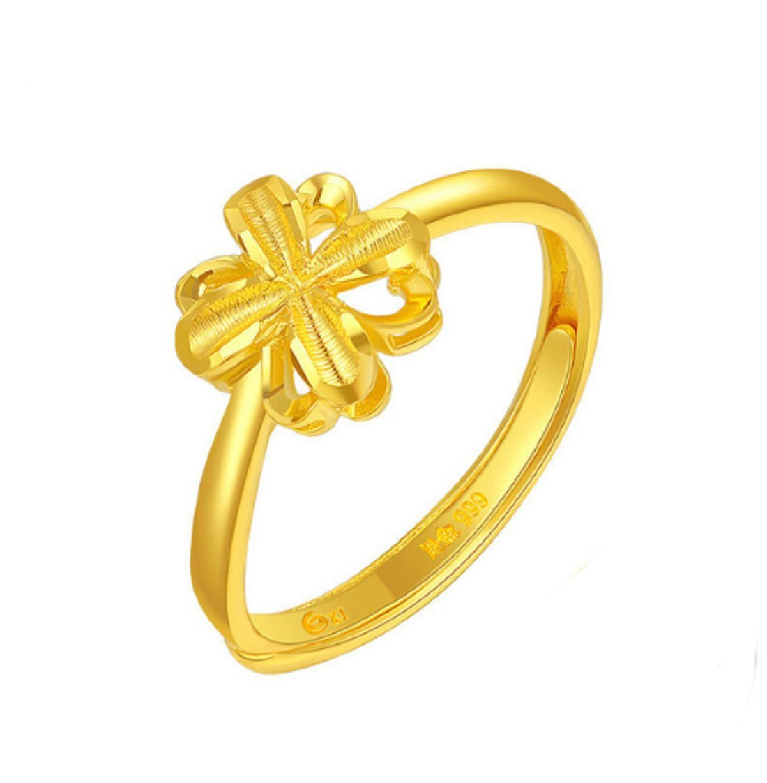 GOWE 24k Pure Gold Ring for Women Flower Shape Bright Petals Resizable Design Beautiful and Elegant 999Soild Gold Rings