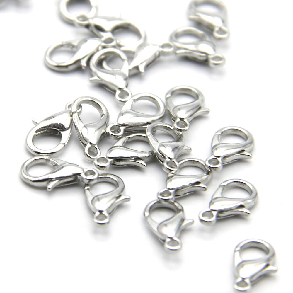 David Angie 200 Pcs 12 x 7 mm Stainless Steel Lobster Claw Clasps Silver Plated Lobster Clasps Jewelry Findings Silver