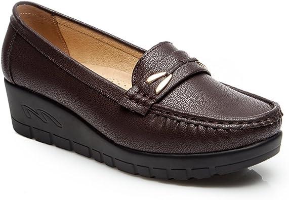 Mocasines Plataforma Cuña Negros para Mujer – Cestfini Los Cómodos Casual Zapatillas para Mujer, Zapatos del Barco, Cómodo y Antideslizante