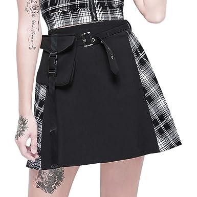 AOGOTO-Jupe Robe Falda para Mujer, Estampado gótico, Punk, gótico ...