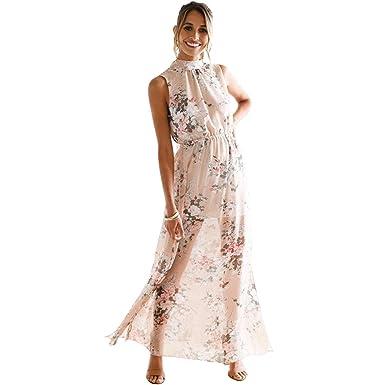 9087f9f3d70b4 HQeTDRJE Women Floral Print Halter Chiffon Sexy Boho Party Dresses ...