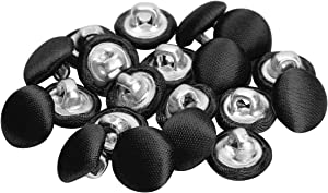 CHICTRY 20Pcs Tuxedo Buttons Bridal Buttons Smooth Satin Covered Metal Shank Buttons for Suits Gowns Blouses Shirts Upholstery Black One Size
