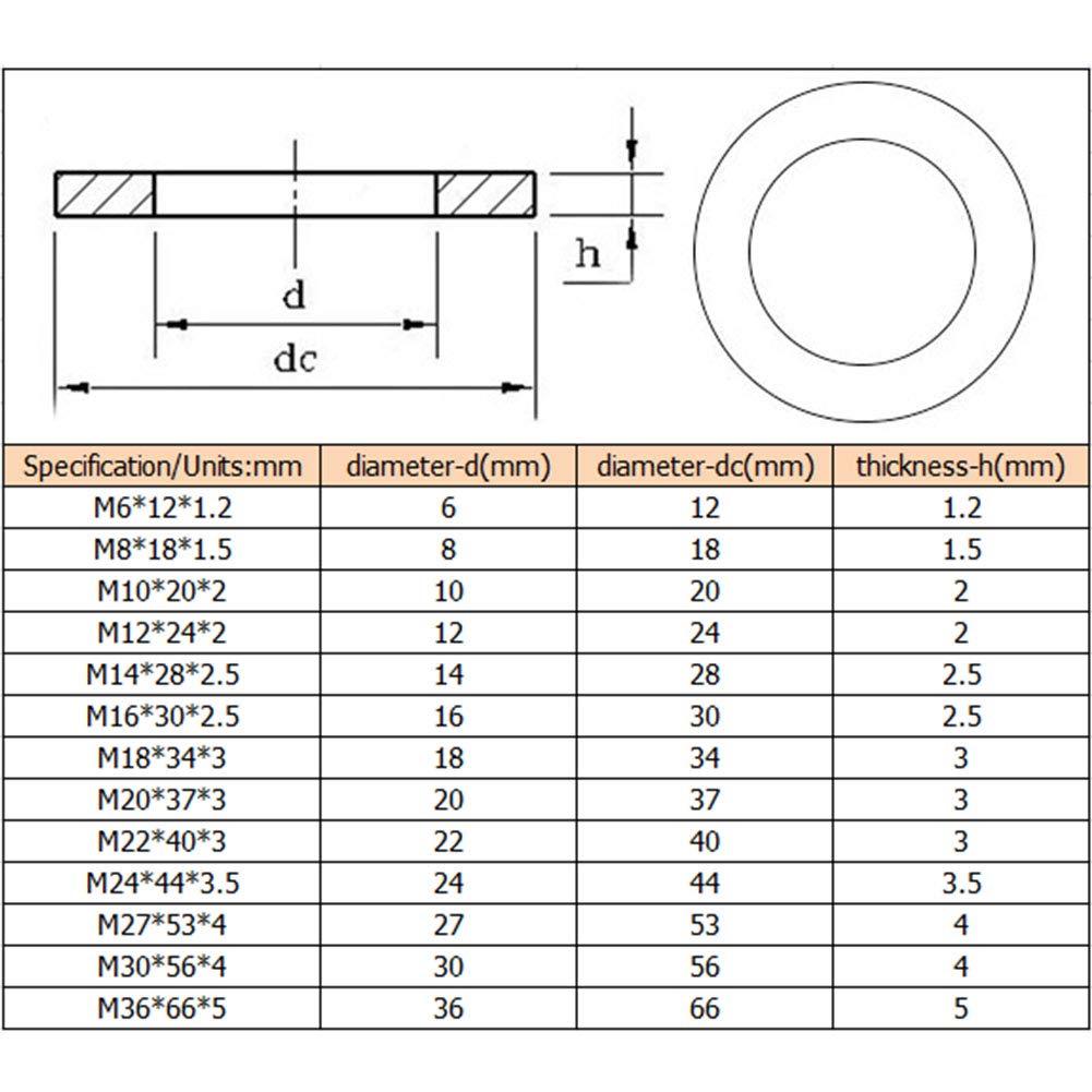 Yiliankeji Tornillos Arandelas Planas Acero al Carbono Arandelas de Metal Espaciadores Mes/ón M/áquina Sujetador Componentes M6-M36